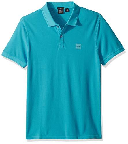 BOSS Orange Men's Prime Polo Shirt with Chest Logo Patch, Medium Grey image 1