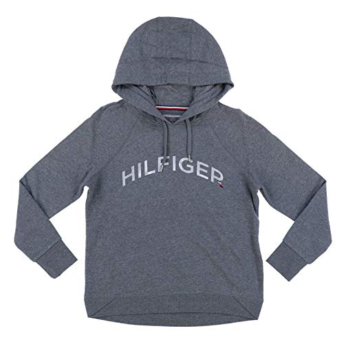 Tommy Hilfiger Womens Pullover Foil Logo Hoodie (Large, Grey) image 1