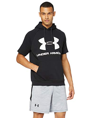 Under Armour Rival Fleece Logo Short-Sleeve Pullover Hoodie, Black (001)/White, Small image 1