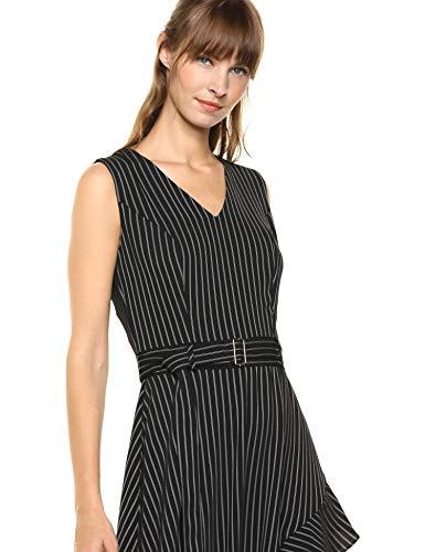 Calvin Klein Women's Belted Dress with Ruffles, Black/White Stripe, 6 image https://images.buyr.com/30bVCp7fRLxOEUaMkY5P4w.jpg1