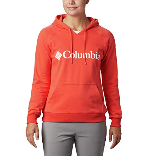 Columbia Women's Logo French Terry Hoodie, Bright Poppy, Large image 1