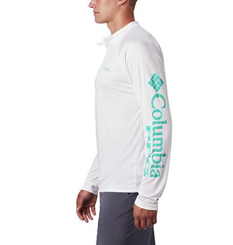 Columbia Men's Terminal Tackle 1/4 Zip, White/Bright Aqua Logo, XX-Large image https://images.buyr.com/8RD2pVgytBC964i7pUeVGA.jpg1