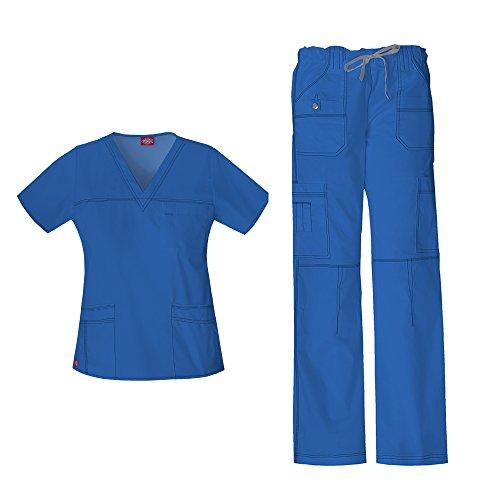Dickies Gen Flex Women's Junior Fit 'Youtility' Top 817455 GenFlex Women's Low Rise Drawstring Cargo Pant 857455 Scrub Set (Royal - Medium/Medium Petite) image 1