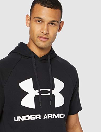 Under Armour Rival Fleece Logo Short-Sleeve Pullover Hoodie, Black (001)/White, Small image https://images.buyr.com/ASzoA2Kl4rkA8YuJB83j7Q.jpg1