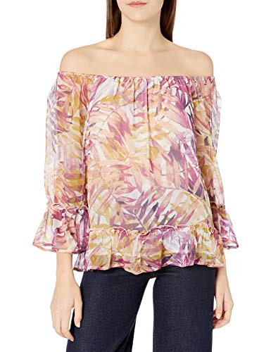 Lucky Brand Women's Palm Print Off The Shoulder Top, Multi, X-Small image 1