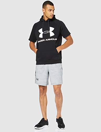 Under Armour Rival Fleece Logo Short-Sleeve Pullover Hoodie, Black (001)/White, Small image https://images.buyr.com/Ex0mWohUNYHwTduz3tA0nw.jpg1