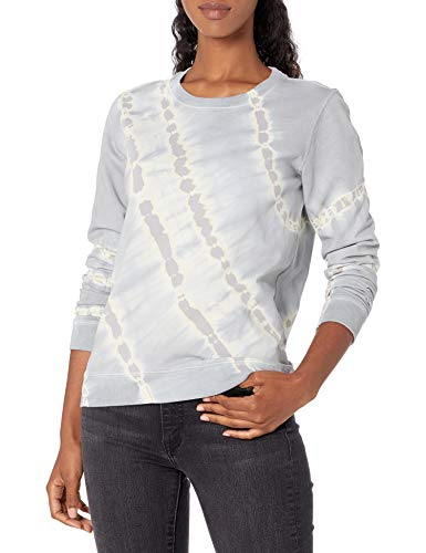 Lucky Brand Women's Long Sleeve Crew Neck Tie Dye Pullover Sweatshirt, Grey Multi, L image 1