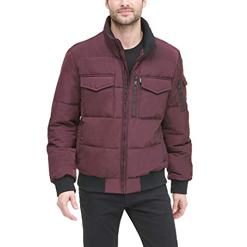 DKNY Men's Quilted Performance Bomber Jacket, oxblood, Large image 1
