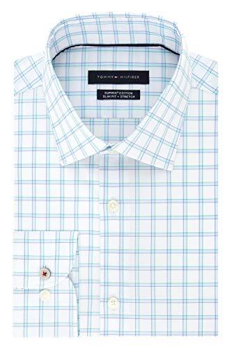 """Tommy Hilfiger Men's Dress Shirt Slim Fit Stretch Check, Blue Velvet, 17.5"""" Neck 32""""-33"""" Sleeve (X-Large) image 1"""
