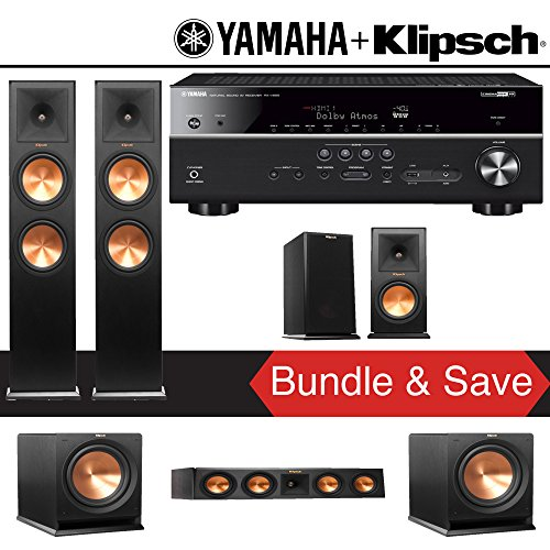 Klipsch RP-280F 5.2-Ch Reference Premiere Home Theater Speaker System with Yamaha RX-V685BL 7.2-Channel 4K Network A/V Receiver image 1