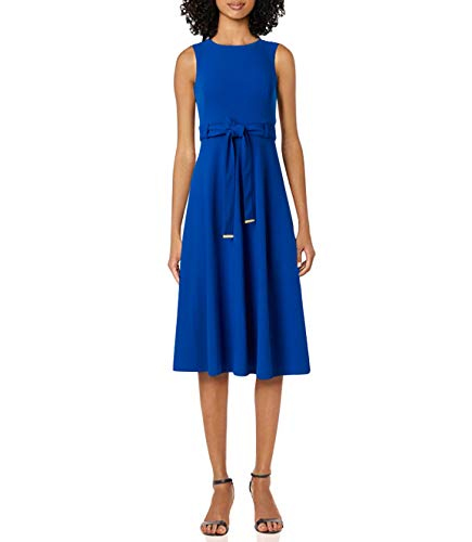 Calvin Klein Women's Sleeveless A-line Belted Midi Dress, Capri, 2 image 1