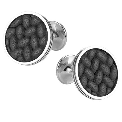 Montblanc Monograin Steel Cuff Links with Leather Inlay 111324 image 1