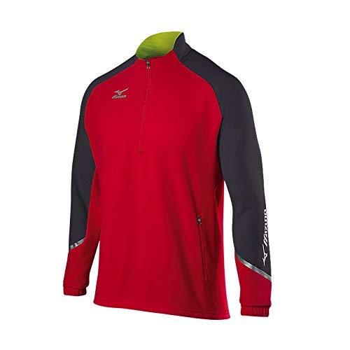 Mizuno Elite 1/2 Zip Pullover, Red-Charcoal-Shadow, Medium image 1