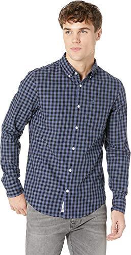 Original Penguin Mens Gingham Button Up Shirt, Blue, XX-Large image 1