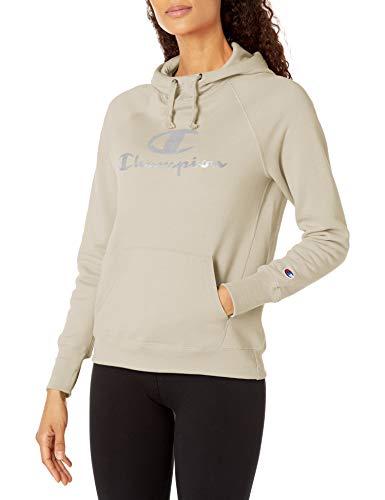 Champion Women's Powerblend Fleece Hoodie, Double Logo, Chalk White-586136, Large image 1