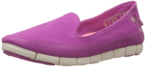 crocs Women's Stretchsoleskimmerw Flat, Vibrant Violet/Stucco, 5 M US image 1