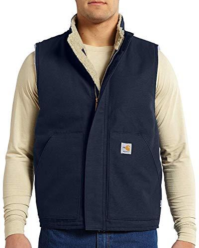 Carhartt Men's Flame Resistant Mock Neck Sherpa Lined Vest,Dark Navy,Medium image 1