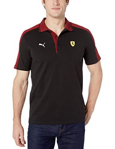 PUMA Mens Formula 1 Scuderia Ferrari Shoulder Stripe Logo Polo, Puma Black, M image 1