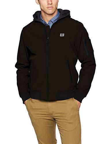 Levi's Men's Soft Shell Varisty Bomber Jacket with Hood, Black, Small image 1