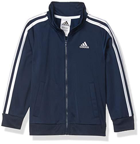 adidas Boys' Big Zip Front Iconic Tricot Jacket, Collegiate Navy, Medium image 1