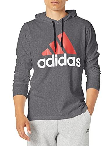 adidas Men's Big & Tall Essentials Hoodie, Dark Grey Heather/Scarlet, X-Large/Tall image 1