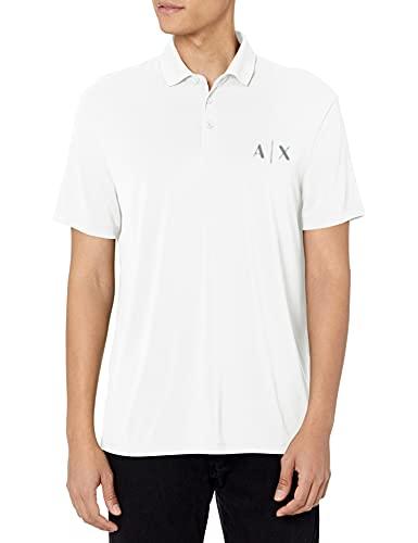 A|X Armani Exchange Men's Modal Knit Faded Logo Polo Shirt, White, XS image 1