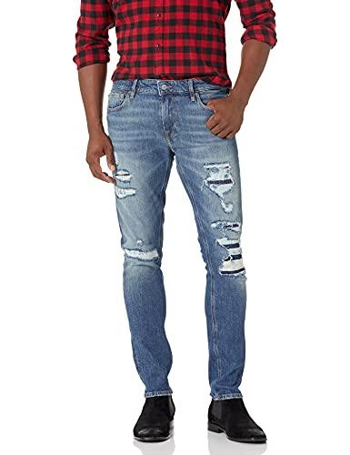 GUESS mens Ripped Skinny Fit Skinny Leg Jeans, Rugged Blue, 31W x 32L US image 1