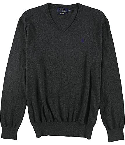 Ralph Lauren Mens V-Neck Pullover Sweater, Grey, Small image 1
