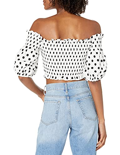 BCBGMAXAZRIA Women's Cropped Top with Off The Shoulder Poof Sleeves, Off White Combo, Small image https://images.buyr.com/OV18L7E_2E71B4AC50E3B4CC50D1480AA3209C80EFB721C7F7ED326E1B21B464E14D0877-V-ZtQM6T5Qii7K9CB7bXlw.jpg1