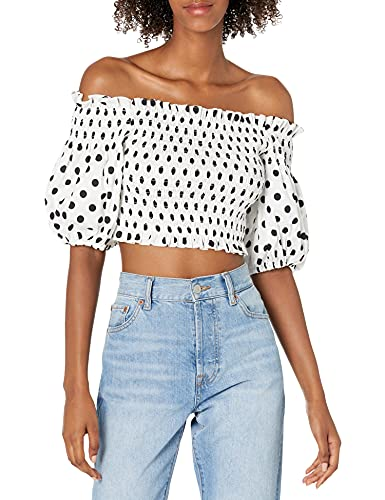 BCBGMAXAZRIA Women's Cropped Top with Off The Shoulder Poof Sleeves, Off White Combo, Small image 1