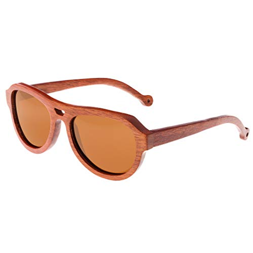 Earth Wood Coronado Red Rose Frame/Brown Lens Aviator 53 mm Polarized Sunglasses image 1