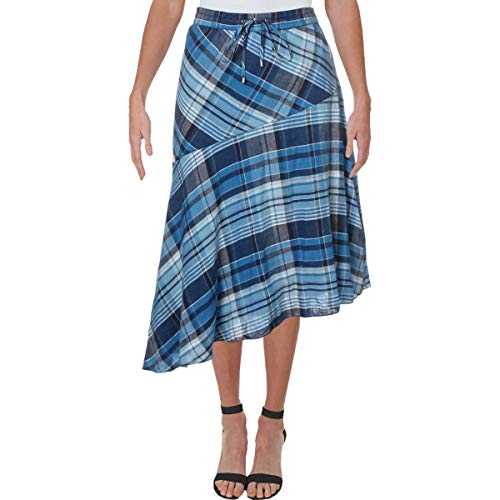 Ralph Lauren Womens Navy Plaid Midi A-Line Skirt Size 12 image 1
