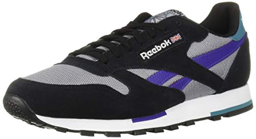 Reebok Men's Classic Leather Sneaker, Black/White/Cool Shadow/Mist/Purple, 4.5 M US image 1