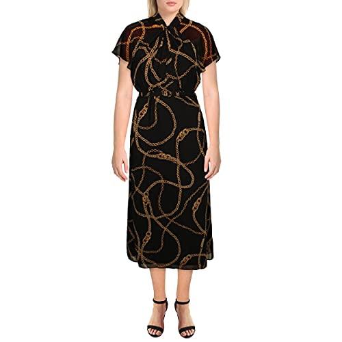LAUREN RALPH LAUREN Womens Chain Flutter Sleeve Casual Dress image 1