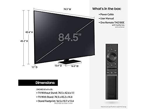 """Samsung QN85QN85AA 85"""" QN85AA Series Neo QLED 4K UHD Smart TV with an Additional 4 Year Coverage by Epic Protect (2021) image https://images.buyr.com/OV18L7E_43356BB9FD6993203927690BF31FDED872C3C61AEAB05473F27AA3C59625D3D0-zxIc8QB25iaFnFGmolE0Tw.jpg1"""