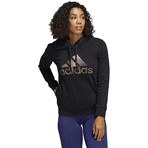 adidas Women's Badge of Sport Overhead Fleece Hoodie (Core-Black / Black, Medium) image 1