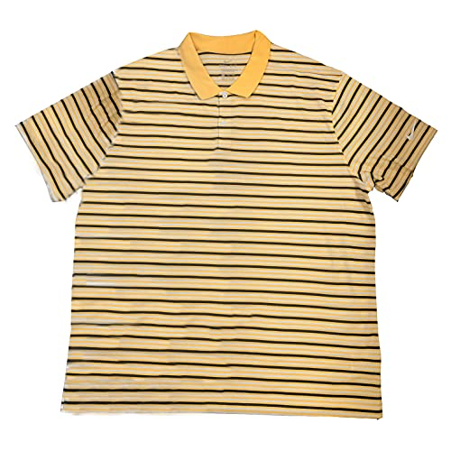 Nike Mens Dri-fit Victory Stripe Polo (XX-Large, Yellow/White/Navy) image 1