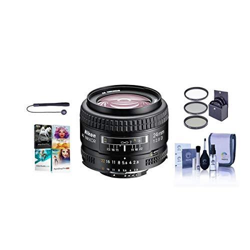 Nikon 24mm f/2.8D ED AF NIKKOR Lens - USA Warranty - Bundle with 52mm Filter Kit (UV/CPL/ND2), Lens Cap Leash, Lens Cleaning Kit, PC Software Package image 1