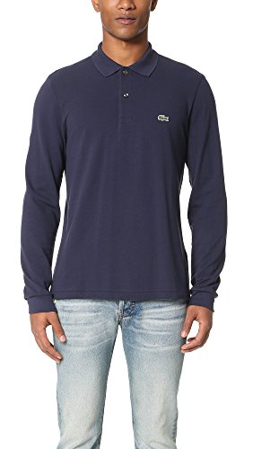 Lacoste mens Classic Long Sleeve Pique Polo Shirt, Navy Blue, 9 US image 1