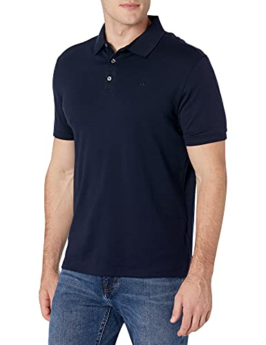 Calvin Klein Men's Liquid Touch Polo Solid with UV-Protection, Cadet Navy, X-Small image 1