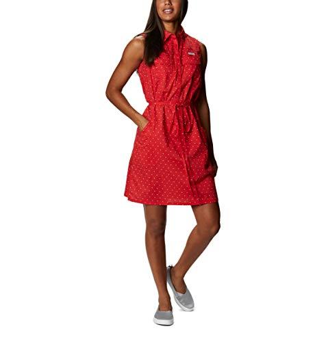 Columbia Women's Bonehead Stretch Sleeveless Dress, Red Spark Swiss Dot, XX-Large image 1