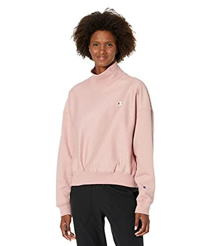 Champion Women's Reverse Weave Mock Neck Crop, Pink Beige-549302, Extra Large image 1