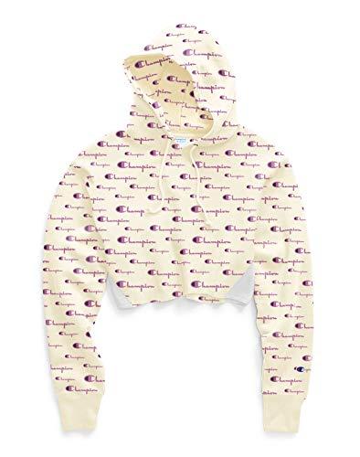 Champion Women's Reverse Weave Cropped Cut Off PO Hood, Script Multi Scale Chalk White, 2X Large image 1