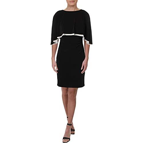 LAUREN RALPH LAUREN Womens Abriel Jersey Knee-Length Capelet Dress B/W 12 Black/White image 1