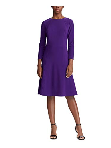 LAUREN RALPH LAUREN Womens Plus Greer Mini Solid Fit & Flare Dress Purple 4 image 1