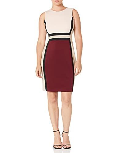 Calvin Klein Women's Colorbloack Sheath Dress, Blush/Rosewood Multi, 10 image 1