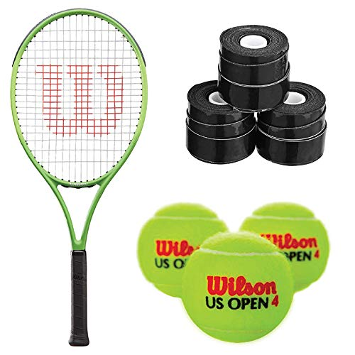 Wilson Blade Feel 26 Inch Pre-Strung Junior Tennis Racquet - Bundled with a 3-Pack of Black Overgrips and 1 Can of Tennis Balls (3 Balls) (Best Racquet for Young Beginner Players) image 1