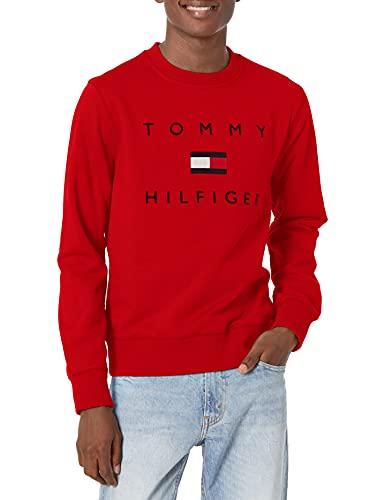Tommy Hilfiger Men's Logo Sweatshirt, Apple RED, LG image 1