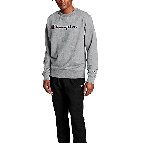 Champion Men's Powerblend Fleece Crew, Script Logo, Oxford Gray-Y06794, X-Small image 1