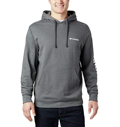 Columbia Men's Viewmont II Sleeve Graphic Hoodie Sweater, Charcoal Heather, Large image 1